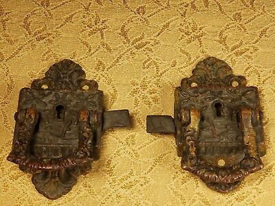 Antique Ornate Brass Ice Box Door Latches from 1800's,Pat?V.G.C,Needs Cleaned!!