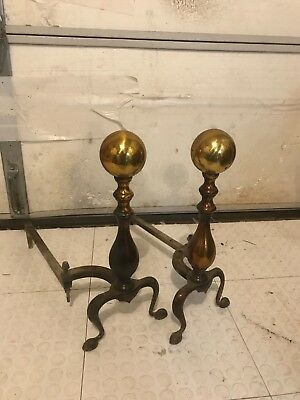 Fireplace andirons vintage brass