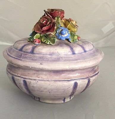 Vintage ITALY Assisi Ceramic Pottery Purple Applied Flowers Jewelry Trinket Box