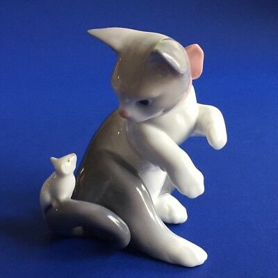 Lladro  Kitten  Cat  &  Mouse  Porcelain   Figurine  5236