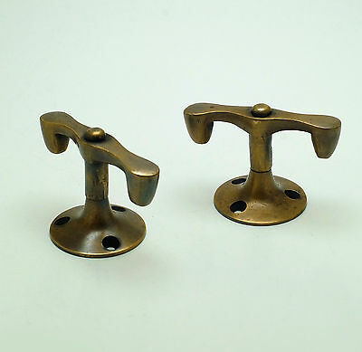 Set 2 pcs Vintage Inline swivel Pivot handle Knob Solid Brass Cabinet KNOB Pulls