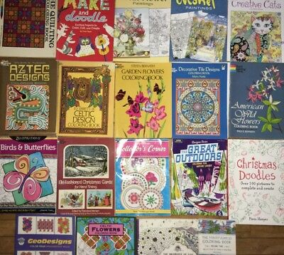 19 Adult Coloring Book Lot Books Flowers Monet Cats Outdoors Doodles Geo