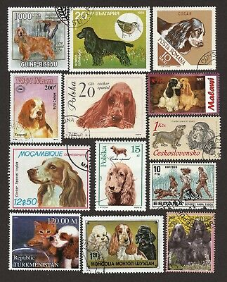 ENGLISH COCKER SPANIEL ** Int'l Dog Postage Stamp Collection**Unique Gift Idea**