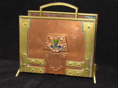 Antique Arts & Crafts Secessionist Jugendstil Copper/Brass/Enamel Letter Holder