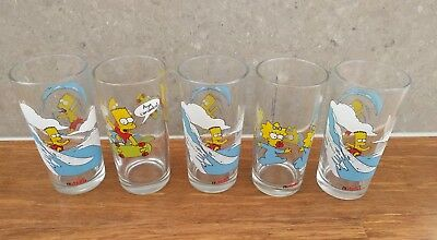 5 x Nutella The Simpsons Glasses 1998 Vintage - Bart Maggie, Surfing Skateboard
