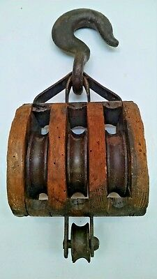 Antique Wooden Triple Pulley Block & Tackle ~ Old Vintage Farm Barn Ship Tool