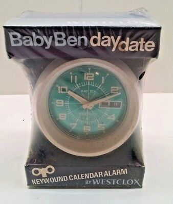 Vintage Westclox Baby Ben Day Date With Green Dial Alarm Clock NIB 11074