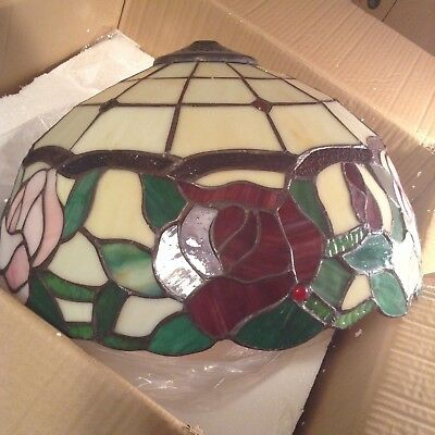 Amora Tiffany Style Floral 2 Light Stained Glass Hanging Bowl Pendant Lamp Decor