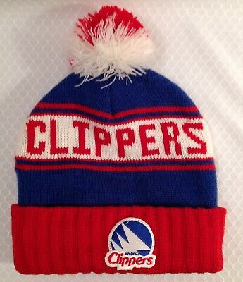 584c7048570 Vintage San Diego LA Clippers Basketball Pom Beanie Toque Cap Blue Red Knit  Hat