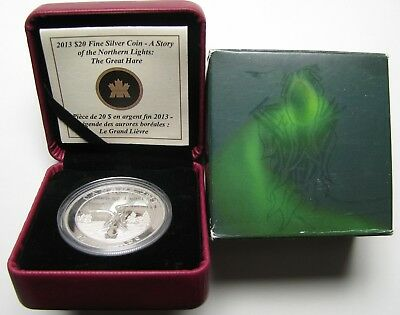 2013 Proof $20 Story Northern Lights #1-Great Hare Canada 1oz .9999 silver