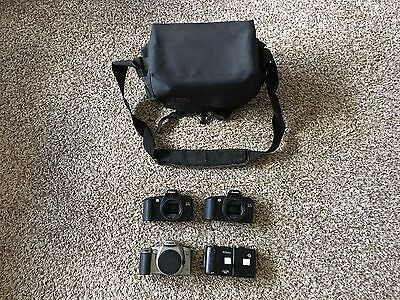 Lot Of 4 Cameras Canon Rebel Nikon Untested As Is With Carrying Case