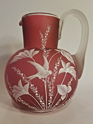 Victorian Pink Satin Glass Picher Enameled Bird and Flowers