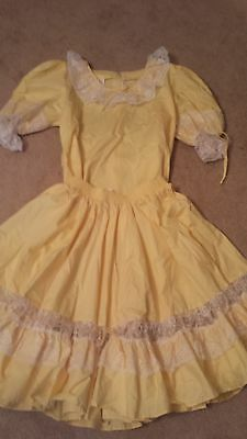 Partners Please yellow Square Dance skirt top womens M