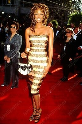 TYRA BANKS vintage celebrity 35mm slide Ht14