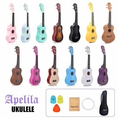 Apelila 21 inch Wood Soprano Ukulele Mini Guitar Musical Beginner with Carry Bag