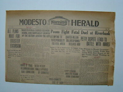 Modesto CA Morning Herald Newspaper Riverbank Mexican Peons Fatal Duel 1913