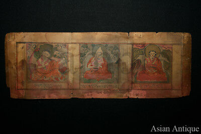 Mongolian Tibetan Illuminated page from Sutra Book  Painting  Mongolia #A3052
