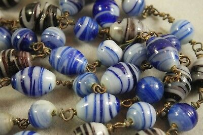 Vintage Art Deco  Old Czech Swirl Glass  Beads 48'' Long Necklace/ Blue Shades