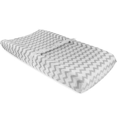 Waterproof Plush Change Pad Cover 100% Cotton Grey and White Chevron Velvet