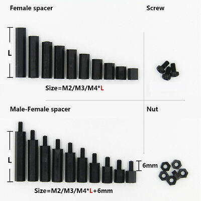 25/50/100x Black Plastic Nylon M2 M3 M4 Hex Column Standoff Spacer Phillip Screw