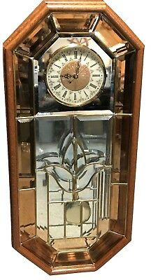 """Vintage LARGE Solid Oak Wood Wall Clock Leaded Stained Glass Front 33"""""""