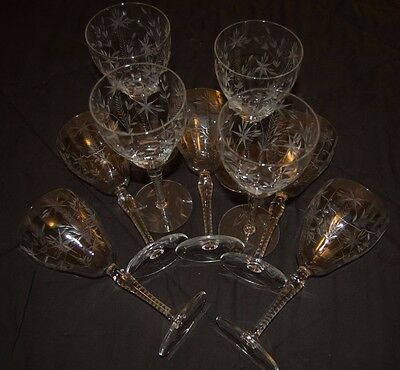 """9"""" Wine Champagne Glass w/ Engraved Floral Design. Lot of 9."""