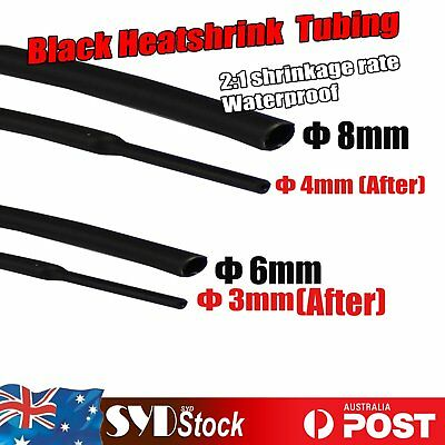 Black Φ 6mm 8mm Heatshrink 2:1 Tube Tubing Sleeve Sleeving Heat Shrink Wire Wrap