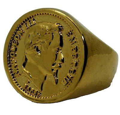 Bague Chevaliere Massive Plaque Or Ronde Piece 20 Francs Napoleon 3 Tete Lauree