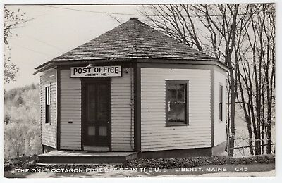 Antique RPPC - Octagon Post Office Liberty Maine ME Real Photo Postcard