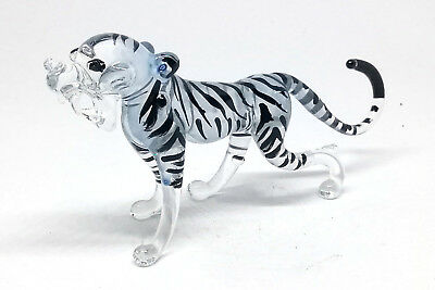 FIGURINE Wildlife Collectible MINIATURE HAND BLOWN GLASS White Tiger Figure