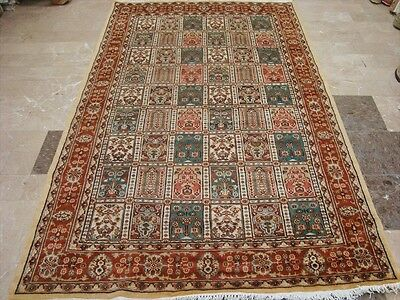 EXCLUSIVE BAKHTIAR FLORAL BLOCKS HAND KNOTTED RUG WOOL SILK CARPET 8x5 FB-2235