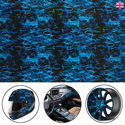 UK COOL Blue Fire Flame Cloud Hydrographic Water Dipping Transfer Hydro Car Film