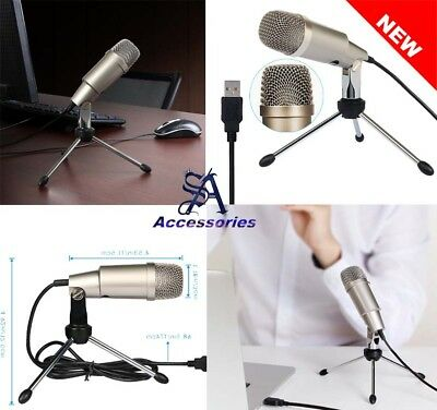 New Plug and Play USB Microphone for PC Laptop Gaming Singing Voice Recording UK