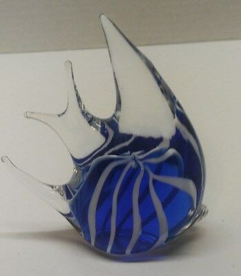 Vintage Dark Blue,Clear, and White Glass Angel Fish Paperweight