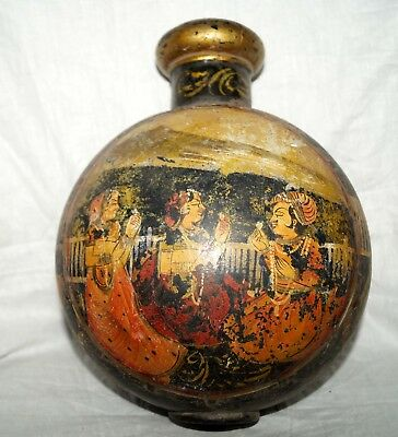 vintage beautiful round shape indian mugal king painting big size flower pot