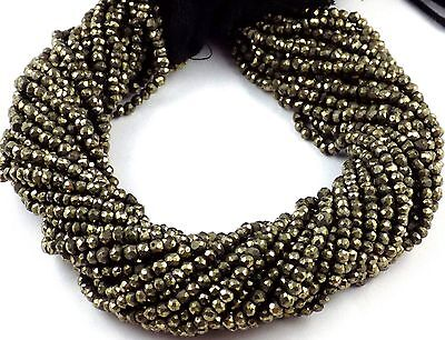 """5 Strand Beautiful Pyrite Gemstone Micro Faceted Rondelle Beads 3.5-4mm 13"""" Long"""