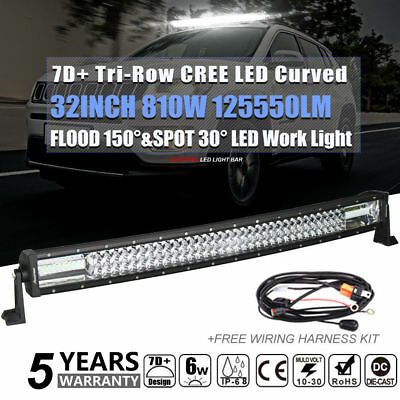 CREE 32Inch 810W Spot Flood Curved LED Work Driving Light Bar Offroad 4WD Truck