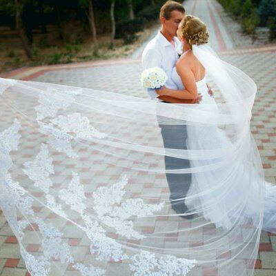 White Ivory 1T Cathedral Applique Edge Lace Bridal Wedding Veil With Comb 3M UK