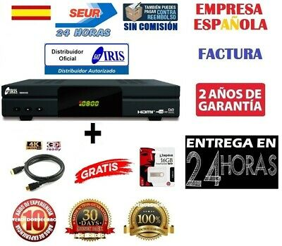 Receptor Satelite Iris 9800 HD WIFI + Cable HDMI 4K + Pendrive 16GB Entrega 24H