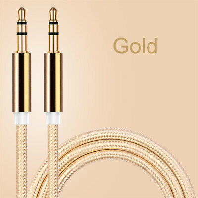 3,5mm Stereo Audio AUX Klinke Kabel Stecker MP3 Auto Laptop Handy Kopfhörer Gold