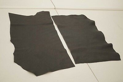 x2 Dark Grey Cowhide pieces/remnants Grainy soft upholstery cow hide leather