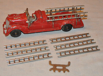 Antique Cast Iron FIRE DEPT Fire Truck with Ladders