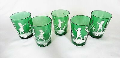 Antique 19th Century Original Mary Gregory Green Tumblers Set of 5