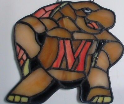 TERRAPIN 'M' UNIVERSITY MARYLAND Stained Glass & Metal Wall Window Hanging 5.5""