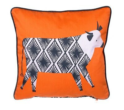 """Ulster Weavers, """"Curious Cows"""", Cotton sateen cushion."""