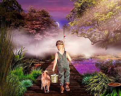 Boy Child Gone Fishing Canvas Picture Poster Print Wall Art Unframed #266