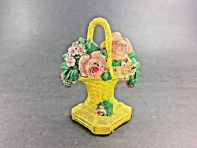 Vintage Iron Doorstop ~ Flower Basket ~ Chic ~ Nice