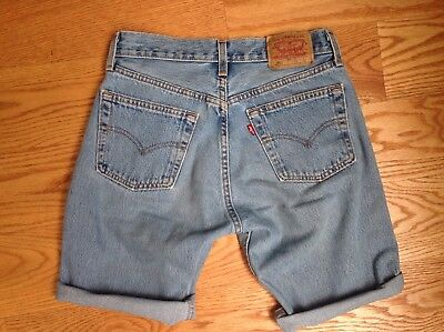 Vtg LEVIS 501 1980s 1990s Cut Off JEANS SHORTS Made in USA Light Wash 28 W X 10""