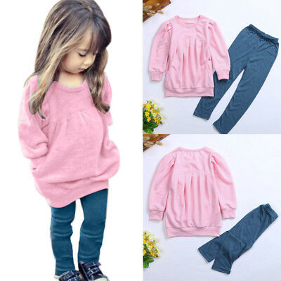 Toddler Kids Baby Girls Outfit Clothes Long Sleeve T-shirt Tops +Long Pants 1Set