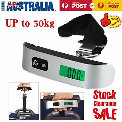 50kg/10g Portable LCD Digital Hanging Luggage Scale Travel Electronic AU@